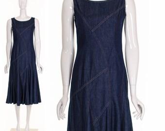 ASYMMETRIC DENIM Dress Vintage 90's Denim Midi Dress Fit and Flare Twirl Dress Sleeveless Dress Denim Grunge Dress Small