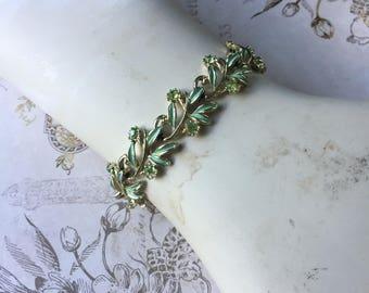 Vintage Mint Green Metal Enamel Leaf Bracelet, Estate Jewelry