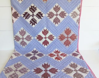 Antique Quilt, Bear Paw Pattern, Early Calico Fabrics