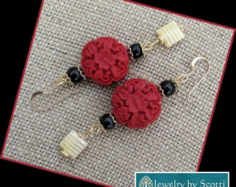 Red Cinnabar Earrings, 14K Gold Filled Earrings, Long Red Earrings, Carved Flower Earrings, Gold Red Black Asian Style Earrings with Onyx