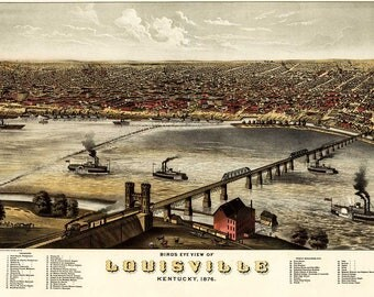 Antique Map Louisville Kentucky 1876