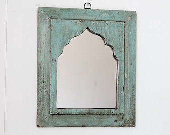 Moroccan Mirror Vintage Wood Framed Mirror Reclaimed Dark Seafoam Green Wall Art