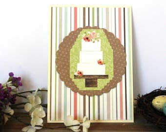 Handmade Rustic Wedding Card, Cake and  Flowers, Green Brown Pink Off White, Blank Inside, Free US Shipping