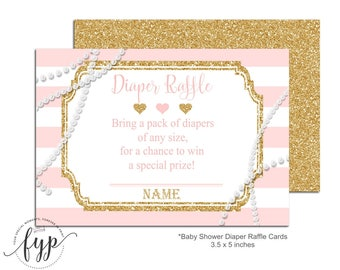 Pink and Gold Diaper Raffle Ticket, Baby Shower Insert Cards, Glitter and Pearls Baby Shower, Pink and Gold Baby Shower, Baby Shower Games