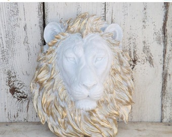 ON SALE WHITE Lion Head with Gold Mane~Lion Decor~Lion Head Wall Mount~Faux Taxidermy~Your Choice Color