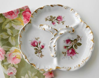 Tea Party Serving Dish. Wedding Plate. Floral Vanity Tray. UCAGCO China in Japan. Shabby Roses Decor. Cottage Style. Vintage Housewares.