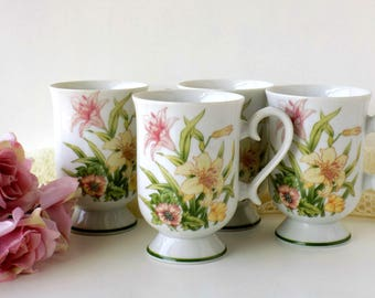 Floral Tea Cups or Mugs. Jade Lily Fine Porcelain by Shafford. Replacement China. Vintage Tea Party Tableware. Romantic Cottage Drinkware.