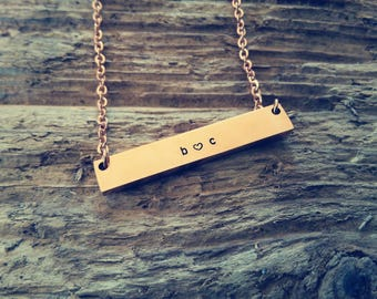 Rose gold, name necklace, personalized bar