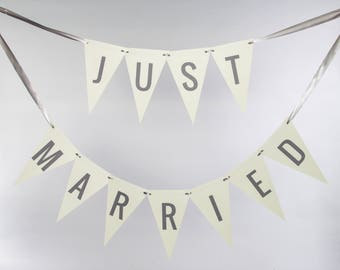 Just Married Bunting Banner | Handcrafted Garland for Bride and Groom | Newlywed Photo Prop Wedding Signage for Car Custom Colors 3104 BNTG