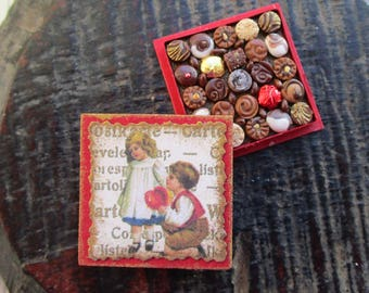 Miniature Box of Chocolates 12th Scale Polymer Clay Valentine's Day