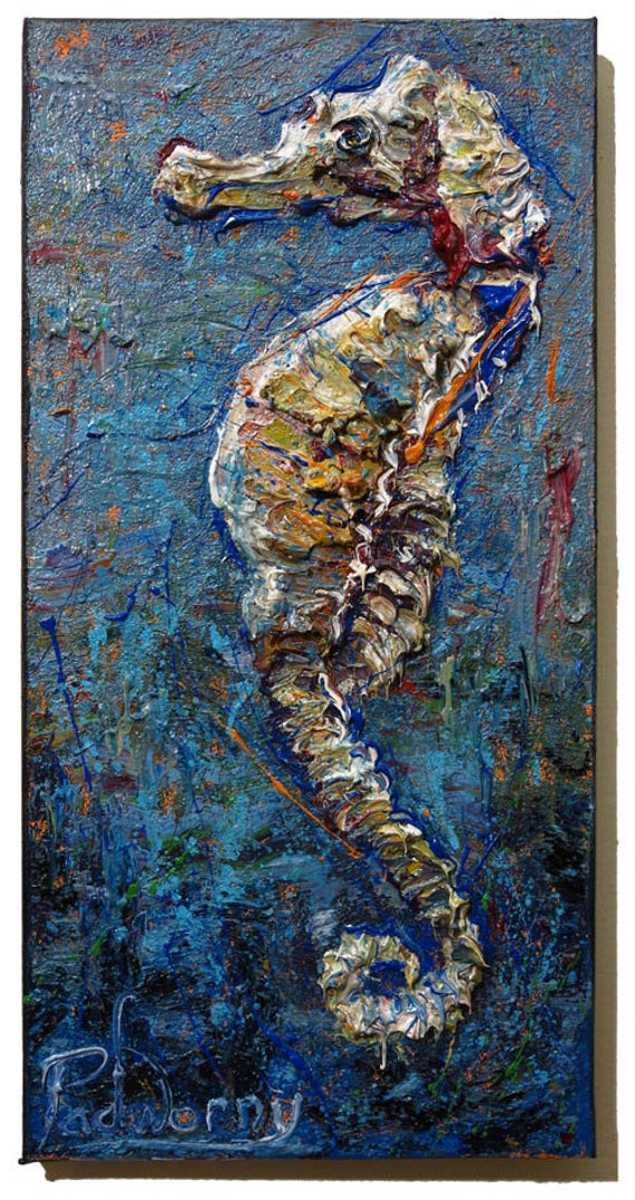 Oil Paint on Stretched Canvas of 20 by 10 by 3/4 in. / Original oil painting impressionist outsider seahorse sea under water marine realism