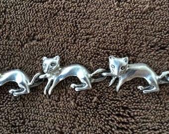 Vintage Serling Silver Cat Bracelet