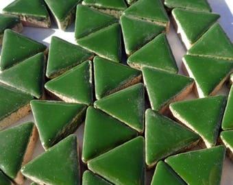 Deep Green Mini Triangles Mosaic Tiles - 50g Ceramic - 15mm in Pesto