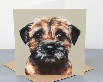 Border Terrier Fine art card, dog gift card, border terrier dog lover