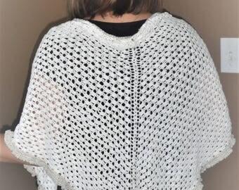 White cotton thread crochet handmade shawl