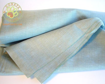 Linen fabric assorted remnants sale! Pure linen flax out cuts for sewing projects; Sky blue & green color mix sheer silky soft linen fabric