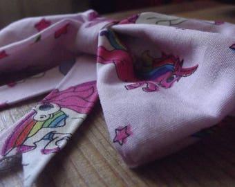 Pink Rainbow Unicorns Hair Bow Accessory Hair Elastic Tie Ponytail Holder
