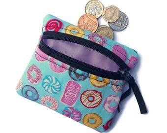 Donut coin purse, doughnut change purse, zipped card pouch