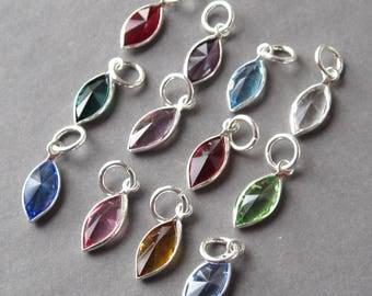 Swarovski Birthstone Charms, 14mm Marquis Swarovski Crystal Channel Charms, Bead Dangles, Add a Charm, Necklace Charms, Personalized Jewelry