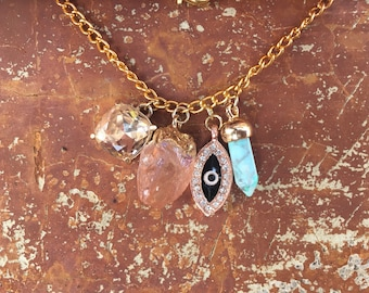 Rose Gold Black Evil Eye Gold Charm Bracelet with Mint Turquoise Gemstone Charm Peach Druzy Citrine Gemstone Charm and Champagne Rhinestone