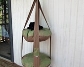 Outdoor Cat Bed, Brown & Green Resort Palm Double Tier Kitty Cloud Cat Bed, Hanging Cat Bed, Pet Furniture, Cat Tree, Catio