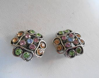 Vintage earrings, multi-color crystal earrings, clip-on earrings, designer earrings, vintage jewelry