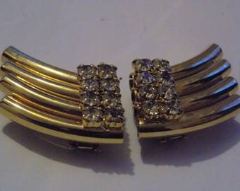 "Vintage shoe clips, dress clips, Art Deco style clips, signed ""Bluette Made in France"" clips, classic retro accessory, vintage jewelry"