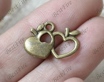 20 pcs Heart Charms Antique bronze Tone,heart Connector Charms Pendant Fingdings pendant,jewelry pendant finding