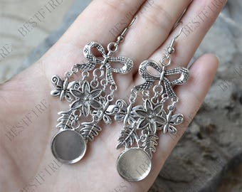 One pairs Unique new style Platinum tone Butterfly Earwires Hook With Round Cabochon bezel,Beautiful Detail,Bezel Tray Earring finding