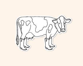 Cow in Cowgirl Boots Vinyl Sticker