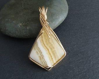 Honey Calcite Wire Wrapped Pendant (642)