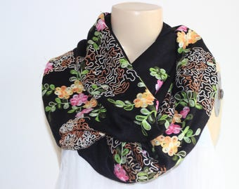 infinity Scarf-Black Pashmina -Silk Embroidered  India Pashmina