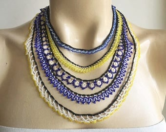 Blue and Yellow Necklace-Lace Crochet Necklace- Beaded Oya Necklace-Crochet with Yellow,Blue,Indigo Blue Beads and Rose Gold Sequins
