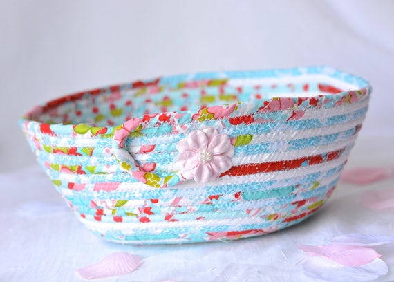 Decorative Patio Bowl, Handmade Fabric Basket, Modern Red and Aqua Gift Basket, Lovely Red and Turquoise Fruit Bowl, Picnic Basket