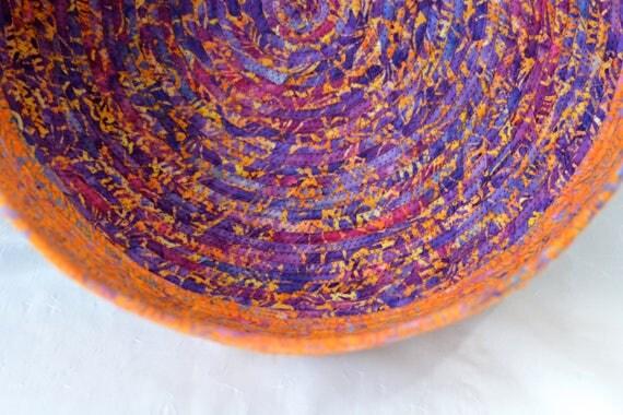 Fall Orange Gift Basket, Handmade Apricot Batik Container, Modern Peachy Storage Bin, Coral Batik Cat Bed Furniture, Pet Bowl, Dog Bowl,
