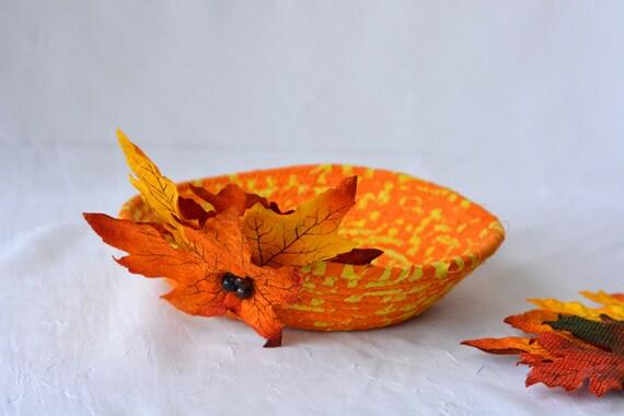 Boho Candy Bowl, Orange Fabric Basket, Boho Key Holder Basket, Fall Candy Corn Bowl, Halloween Decor, Cute Desk Accessory Basket