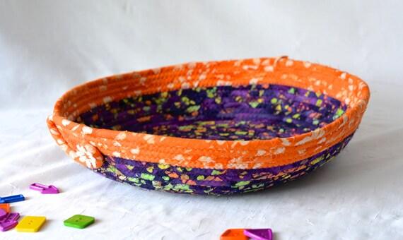 Halloween Boho Basket, Handmade Rustic Fall Decoration, Purple and Orange Fiber Basket, Boho Batik Fiber Hand Coiled Basket