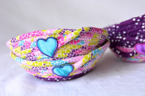 Birthday Party Favors, 4 Cute Purple Baskets, Set of 4, Modern Ring Dishes, Lovely Candy Bowls, Pink Desk Accessory Catchall