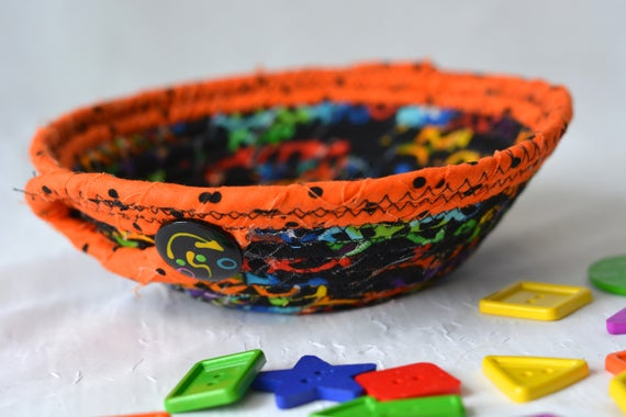 Halloween Candy Bowl, SALE... Orange Fabric Basket, Fall Desk Accessory Basket, Change Dish, Coin Holder, Decoration