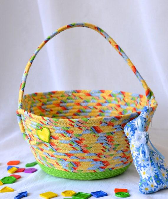 Rainbow Easter Basket, Handmade Yellow Easter Bucket, Cute Toy Storage Bin, Lego Storage Bin, Crayon Holder, Fun Boy Easter Egg Hunt Bag