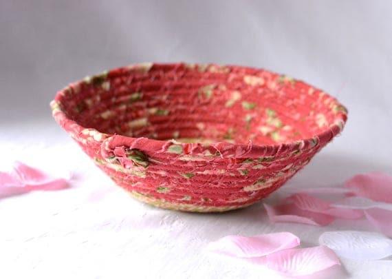 Shabby Chic Basket, Handmade Candy Dish Bowl, Key Holder Basket, Ring Dish Bowl, Mauve Rose Desk Accessory, Easter Basket
