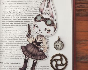 Bunny Bandit - bookmark - made to order