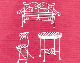 267 - Set of 3 Chair benches and table cuts for cards or scrapbooking No. 135