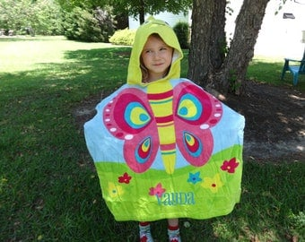 Personalized Hooded Beach Towel,  BEACH POOL Cover up, BUTTERFLY Towel,  Girls Beach CoverUp