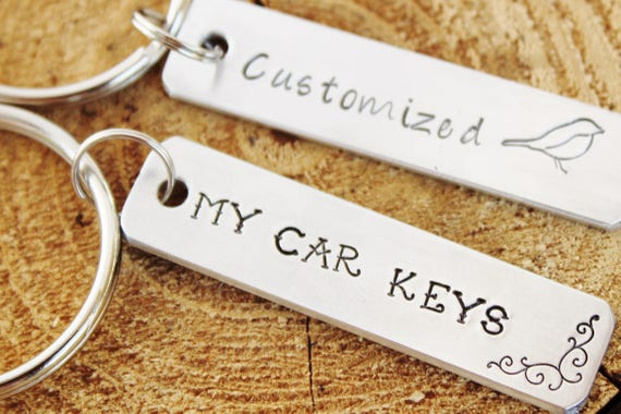 Key Chains Set of 2 Two CUSTOM CUSTOMIZED Hand Stamped Polished Aluminum Personalized Made To Order Short Quote Names Dates Birthday