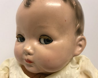 "18"" Effanbee Doll sleepy eyes baby doll composition creepy vintage"