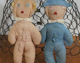 Vintage Handmade Raggedy Babies, rag dolls, pair of two