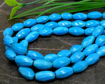 Natural Turquoise 12-14mm Faceted Twister Gemstone Beads / Approx 20 pieces on 5 Inch long strand / JBC-ET-BSTQ003
