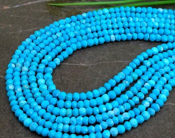 Natural Turquoise 3-3.5mm Micro Faceted Rondelle Gemstone Beads / Approx 160 pieces on 14 Inch long strand / JBC-ET-139936