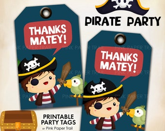 Cute Pirate Party Thank You Tags Thanks Mateys Printable Party Tags Instant Download Pritn Your Own